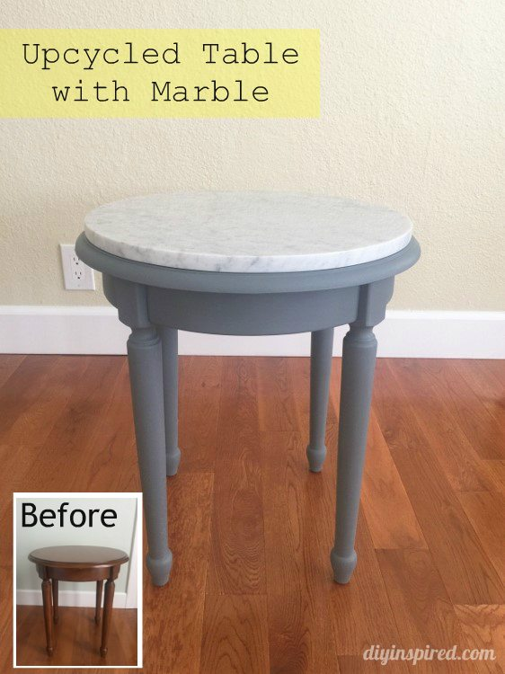 Upcycled Table With Marble   DIY Inspired
