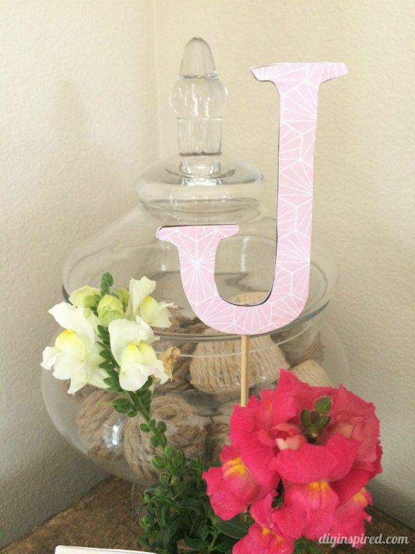Birthday Party Flower Centerpieces with Monogram