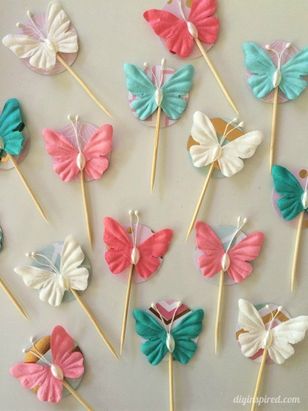 Easy Butterfly Cupcake Topper Toothpicks - DIY Inspired