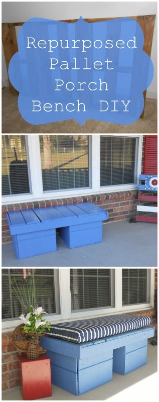 Repurposed Pallet Porch Bench - DIY Inspired