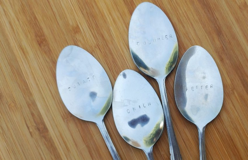 Upcycled Spoon Stamped Garden Markers - DIY Inspired