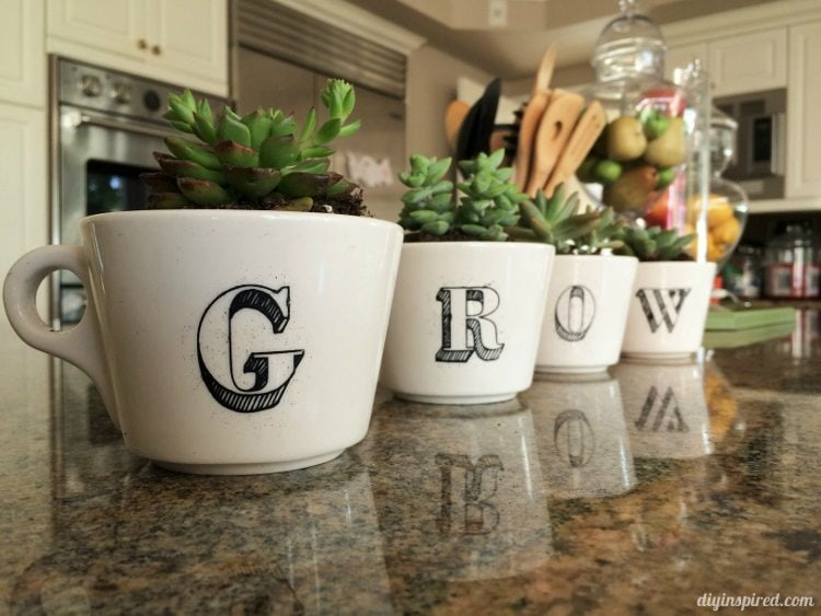 Five Cool Stenciling DIYs for your Kitchen - Repurposed Coffee Cups