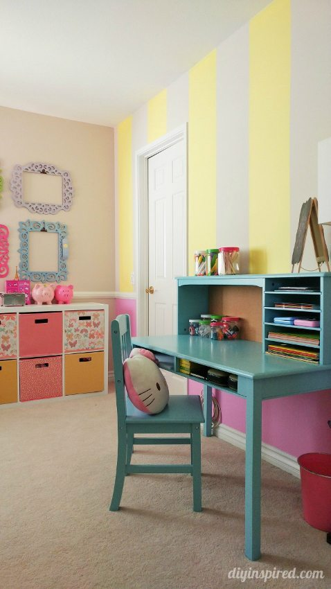 Girls Bedroom Decor Idea - Pink Yellow Blue