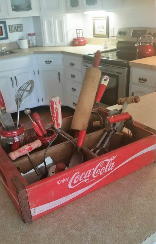 Repurposed Coca Cola Boxes as Kitchen Storage