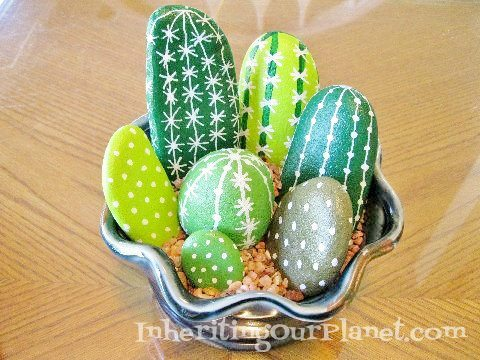 Easy Craft Ideas for Kids - Cactus Rocks