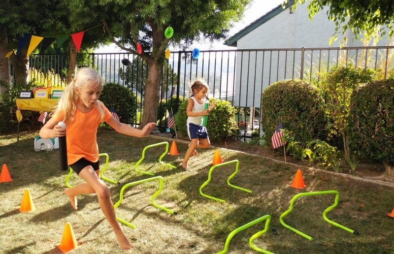 Egg and Bounty Paper Towel Roll Obstacle Course (1)