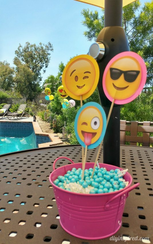 Pool Party Centerpiece Ideas pool party table ideas Emoji Pool Party Centerpieces