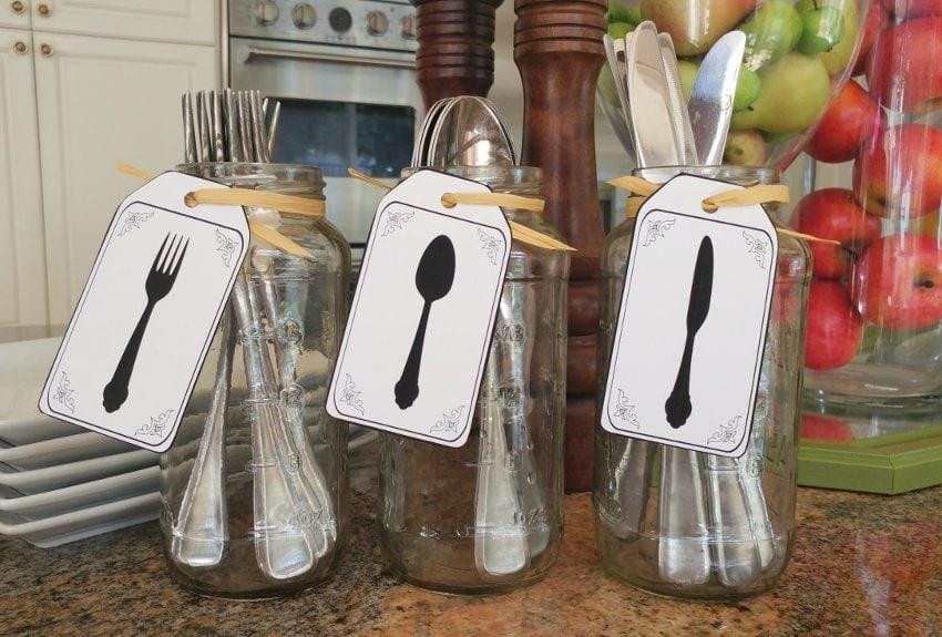 Recycled Jar Utensil Holders With Printable Diy Inspired