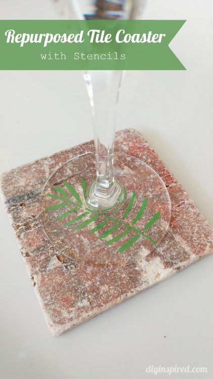 Repurposed Tile Coaster with Stenciling - DIY Inspired