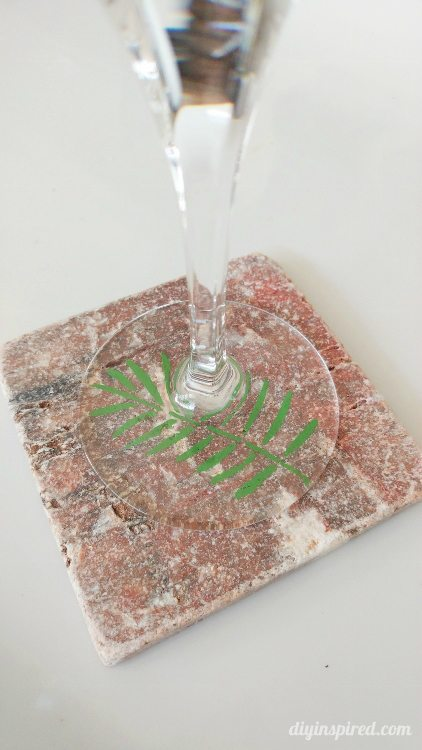 Upcycled Stenciled Tile Coaster - DIY Inspired