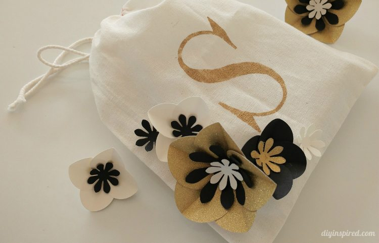 Stenciled Gift Bag with Paper Flowers - DIY Inspired