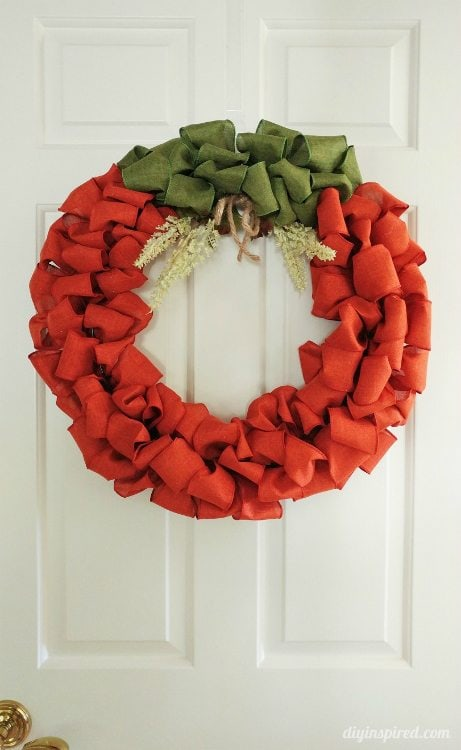 Diy Pumpkin Ribbon Wreath Diy Inspired