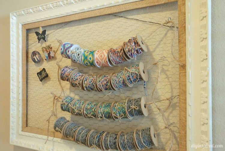 repurposed-ribbon-storage-with-chicken-wire