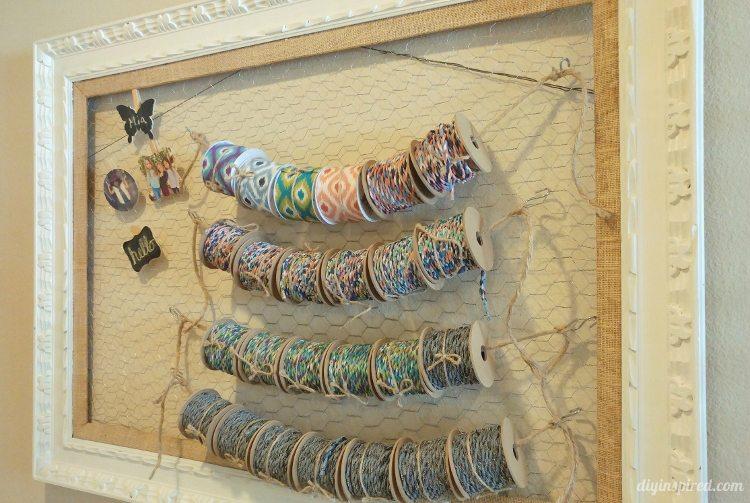 repurposed-ribbon-storage-with-chicken-wire