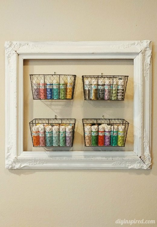 Upcycled Frame Craft Paint Storage - DIY Inspired