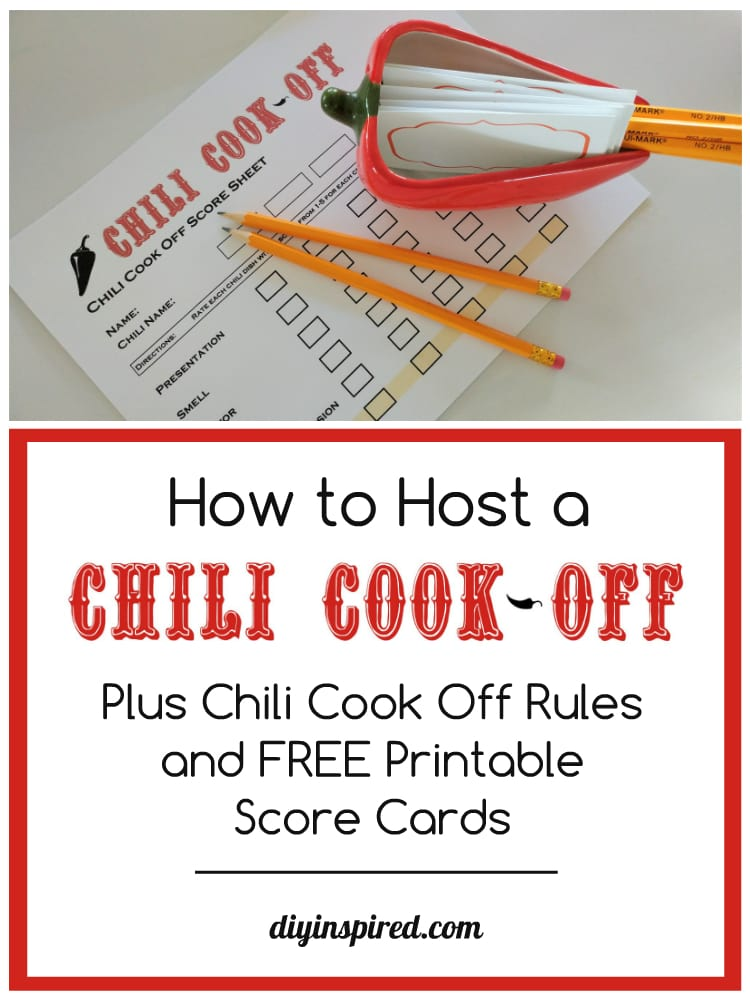 Chili Cook Off Rules And Free Score Sheet Diy Inspired
