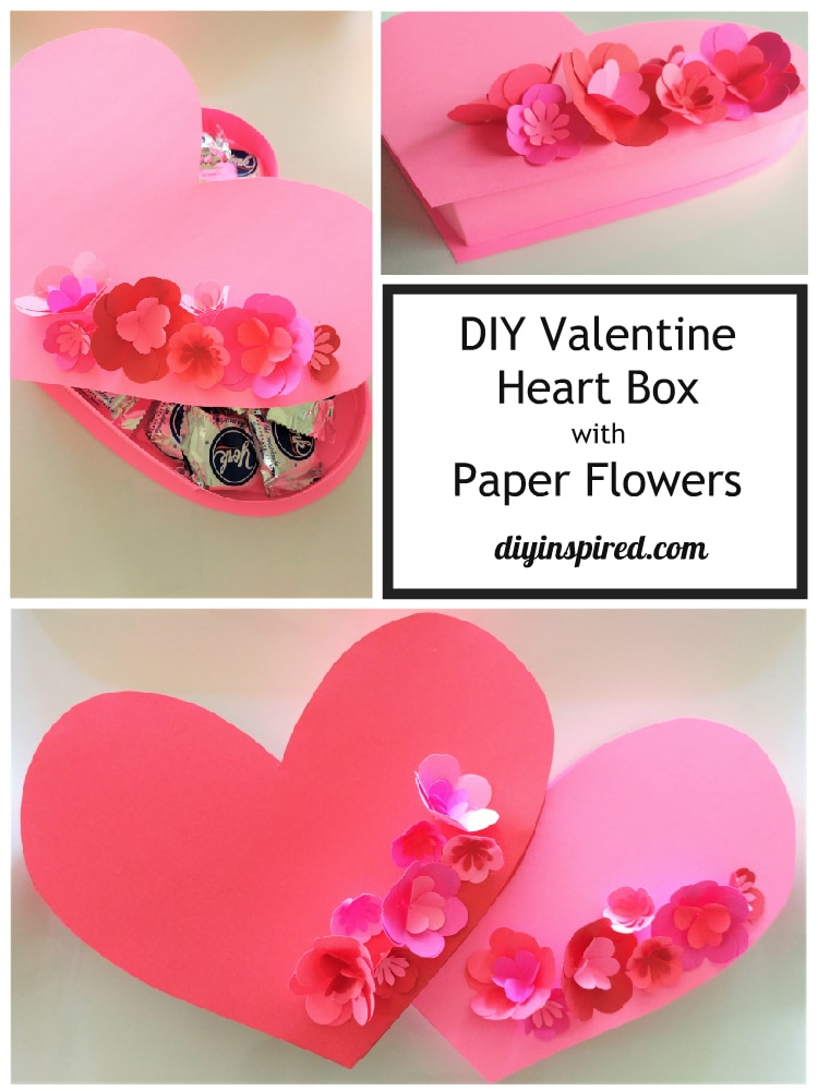 DIY Valentine Heart Box with Paper Flowers - DIY Inspired