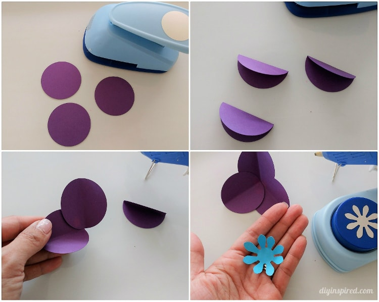 Easy circle punch paper flowers on branches diy inspired you can make these flowers with three four or five circles first punch out the circles and fold them in half glue the petals together to form a circle mightylinksfo
