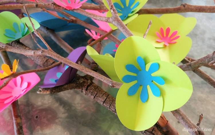 Easy Circle Punch Paper Flowers On Branches Diy Inspired
