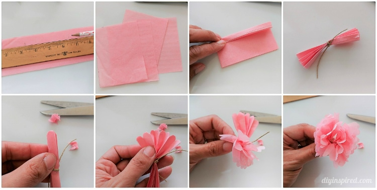 Diy mini tissue paper flowers bouquet diy inspired using a pencil and ruler measure 25 x 325 rectangles you will need four per flower fold over the tissue paper so that you can cut several at a time mightylinksfo