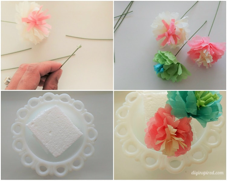 Diy mini tissue paper flowers bouquet diy inspired you can also use the flowers to embellish gift wrapping or for party decorations play with colored and patterned tissue paper to fit your mightylinksfo