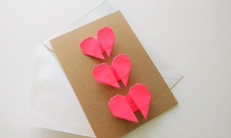 Origami Hearts Handmade Card Diy Inspired