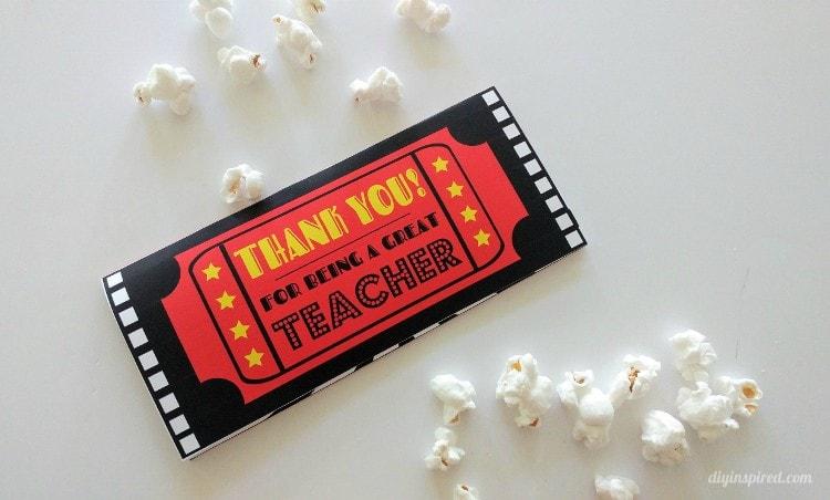 thank you teacher movie ticket printable envelope diy inspired