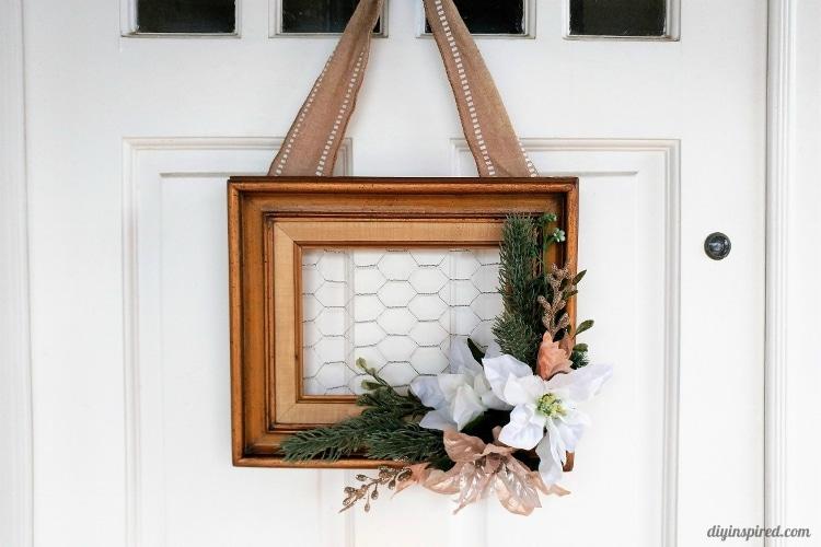 Repurposed Frame Christmas Wreath - DIY Inspired