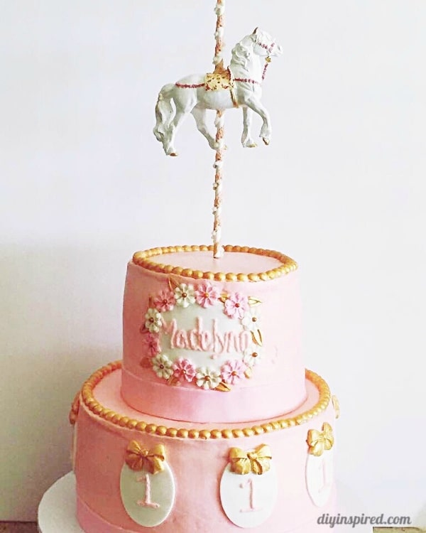 Pink And Gold Carousel First Birthday Cake Diy Inspired