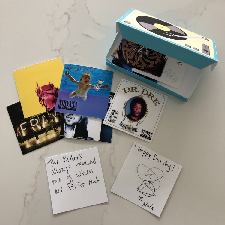 Mini Record Player with Album Cover Notes
